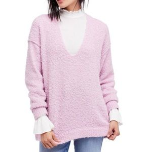 Free People   Lofty boucle v-neck pullover